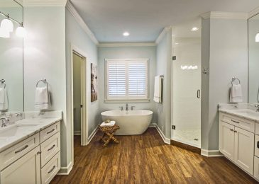 soaking tub in bathroom remodeled by robbins construction