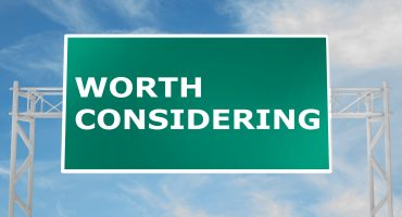 "3D illustration of ""WORTH CONSIDERING"" script on road sign"