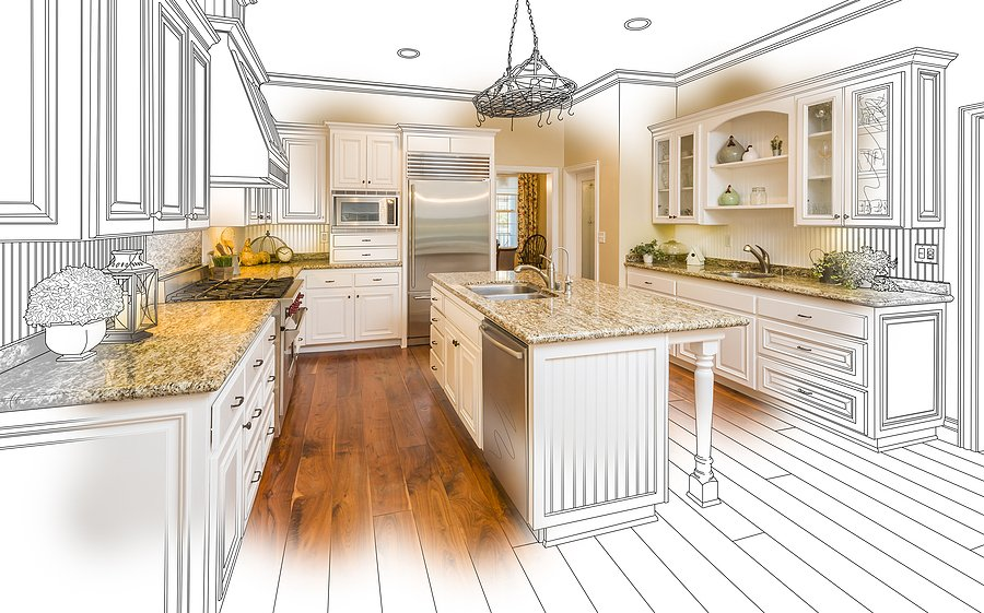 As an example for small kitchen remodel ideas, this is an artistic image of a home kitchen in Memphis, TN with new cabinetry, a beautiful island, marble countertops, and new flooring from Robbins Construction.
