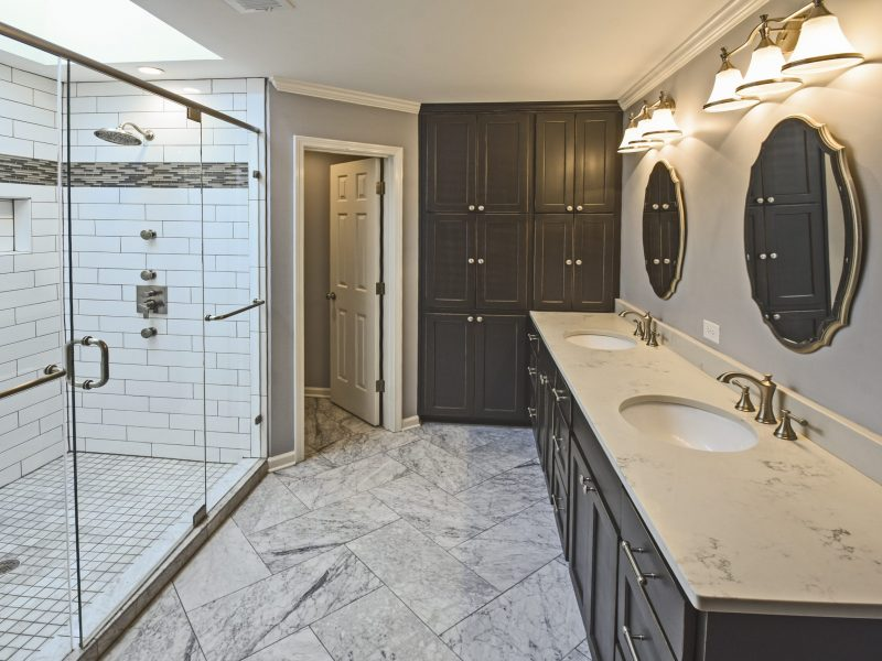 1.10.927 Light Pewter Grout_Bianco Gioa Honed 12x24 Floor_Germantown_Robbins Construction